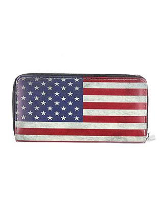 BAG ACCESSORY / AMERICAN FLAG PRINT / FAUX LEATHER CLUTCH WALLET / RED WHITE AND BLUE / STARS AND STRIPES / ZIPPER / COIN POCKET / CASH POCKET / CREDIT CARD POCKET / ONE SIZE / 8 INCH WIDE / 4 INCH TALL / NICKEL AND LEAD COMPLIANT