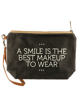 BAG ACCESSORY / MESSAGE / VINYL WRIST WALLET / SMILE IS THE BEST MAKEUP / ZIPPER / REMOVABLE WRISTBAND / ONE SIZE / 9 INCH WIDE / 6 INCH TALL / 2 INCH DEEP / NICKEL AND LEAD COMPLIANT