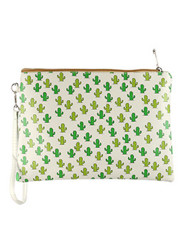 BAG ACCESSORY / CACTUS PRINT / VINYL WRIST WALLET / CLUTCH / ZIPPER / REMOVABLE WRISTBAND / ONE SIZE / 10 INCH WIDE / 7 INCH TALL / NICKEL AND LEAD COMPLIANT