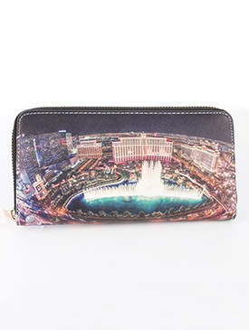 BAG ACCESSORY / VEGAS BELLAGIO FOUNTAIN / FAUX LEATHER CLUTCH WALLET / PALM TREES / ZIPPER / COIN POCKET / CASH POCKET / CREDIT CARD POCKET / ONE SIZE / 8 INCH WIDE / 4 INCH TALL / NICKEL AND LEAD COMPLIANT