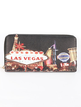 BAG ACCESSORY / VEGAS SIGN / FAUX LEATHER CLUTCH WALLET / PALM TREES / ZIPPER / COIN POCKET / CASH POCKET / CREDIT CARD POCKET / ONE SIZE / 8 INCH WIDE / 4 INCH TALL / NICKEL AND LEAD COMPLIANT