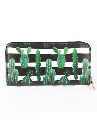 BAG ACCESSORY / CACTUS STRIPED PRINT / VINYL CLUTCH WALLET / ZIPPER / COIN POCKET / CASH POCKET / CREDIT CARD POCKET / ONE SIZE / 8 INCH WIDE / 4 INCH TALL / NICKEL AND LEAD COMPLIANT
