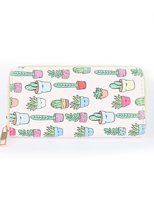 BAG ACCESSORY / POTTED CACTUS PRINT / VINYL CLUTCH WALLET / ZIPPER / COIN POCKET / CASH POCKET / CREDIT CARD POCKET / ONE SIZE / 8 INCH WIDE / 4 INCH TALL / NICKEL AND LEAD COMPLIANT