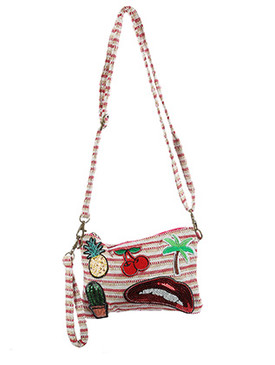 BAG ACCESSORY / PATCHED WOVEN FABRIC / PURSE / PINEAPPLE / CHERRIES / PALMTREE / BITING LIPS / SEQUIN CACTUS / ZIPPER CLOSURE / INSIDE ZIP POCKET / REMOVABLE WRIST STRAP / REMOVABLE ADJUSTABLE SHOULDER STRAP / ONE SIZE / 8 1/2 INCH WIDE / 6 INCH TALL / NICKEL AND LEAD COMPLIANT