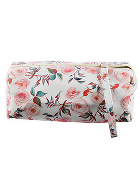 BAG ACCESSORY / ROSE PRINT / VINYL POUCH WALLET / ZIPPER / ONE SIZE / 8 INCH WIDE / 3 INCH TALL / 3 INCH DEEP / NICKEL AND LEAD COMPLIANT