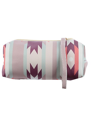 BAG ACCESSORY / TRIBAL PRINT / VINYL POUCH WALLET / ZIPPER / ONE SIZE / 8 INCH WIDE / 3 INCH TALL / 3 INCH DEEP / NICKEL AND LEAD COMPLIANT