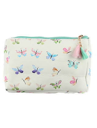 BAG ACCESSORY / BUTTERFLY PRINT / VINYL POUCH WALLET / ZIPPER / TASSEL CHARM / ONE SIZE / 7 INCH WIDE / 5 INCH TALL / 2 INCH DEEP / NICKEL AND LEAD COMPLIANT