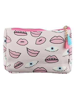 BAG ACCESSORY / EYES LIPS PRINT / VINYL POUCH WALLET / ZIPPER / TASSEL CHARM / ONE SIZE / 7 INCH WIDE / 5 INCH TALL / 2 INCH DEEP / NICKEL AND LEAD COMPLIANT
