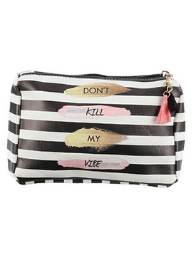 BAG ACCESSORY / STRIPE MESSAGE PRINT / VINYL POUCH WALLET / DONT KILL MY VIBE / ZIPPER / TASSEL CHARM / ONE SIZE / 7 INCH WIDE / 5 INCH TALL / 2 INCH DEEP / NICKEL AND LEAD COMPLIANT