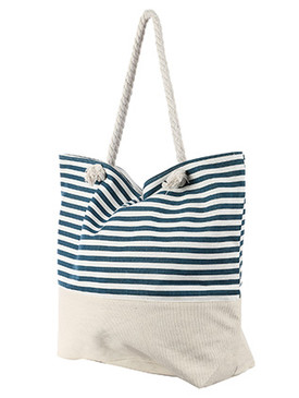 BAG ACCESSORY / STRIPED PRINT / JUMBO BEACH TOTE / ZIP CLOSURE / INTERIOR SLIP POCKET / INNER LINING / CANVAS COTTON FEEL / ONE SIZE / 23 INCH WIDE / 15 INCH TALL / 6 INCH DEEP / 7 INCH HANDLE DROP / 100 ACRYLIC / NICKEL AND LEAD COMPLIANT