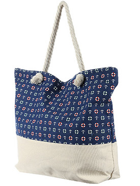 BAG ACCESSORY / NAUTICAL PRINT / JUMBO BEACH TOTE / ZIP CLOSURE / INTERIOR SLIP POCKET / INNER LINING / CANVAS COTTON FEEL / ONE SIZE / 23 INCH WIDE / 15 INCH TALL / 6 INCH DEEP / 7 INCH HANDLE DROP / 100 ACRYLIC / NICKEL AND LEAD COMPLIANT