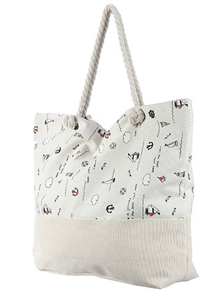 BAG ACCESSORY / BEACH VACATION PRINT / JUMBO BEACH TOTE / NAUTICAL / ZIP CLOSURE / INTERIOR SLIP POCKET / INNER LINING / CANVAS COTTON FEEL / ONE SIZE / 23 INCH WIDE / 15 INCH TALL / 6 INCH DEEP / 7 INCH HANDLE DROP / 100 ACRYLIC / NICKEL AND LEAD COMPLIANT