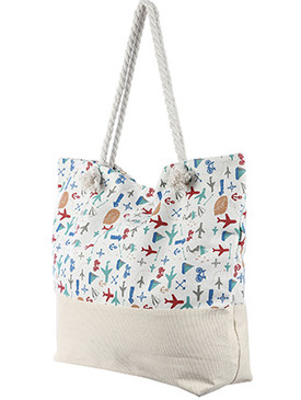 BAG ACCESSORY / VACATION PRINT / JUMBO BEACH TOTE / ZIP CLOSURE / INTERIOR SLIP POCKET / INNER LINING / CANVAS COTTON FEEL / ONE SIZE / 23 INCH WIDE / 15 INCH TALL / 6 INCH DEEP / 7 INCH HANDLE DROP / 100 ACRYLIC / NICKEL AND LEAD COMPLIANT