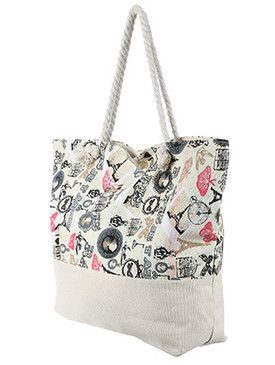 BAG ACCESSORY / VINTAGE FRENCH PRINT / JUMBO BEACH TOTE / ZIP CLOSURE / INTERIOR SLIP POCKET / INNER LINING / CANVAS COTTON FEEL / ONE SIZE / 23 INCH WIDE / 15 INCH TALL / 6 INCH DEEP / 7 INCH HANDLE DROP / 100 ACRYLIC / NICKEL AND LEAD COMPLIANT