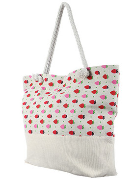 BAG ACCESSORY / STRAWBERRY PRINT / JUMBO BEACH TOTE / ZIP CLOSURE / INTERIOR SLIP POCKET / INNER LINING / CANVAS COTTON FEEL / ONE SIZE / 23 INCH WIDE / 15 INCH TALL / 6 INCH DEEP / 7 INCH HANDLE DROP / 100 ACRYLIC / NICKEL AND LEAD COMPLIANT