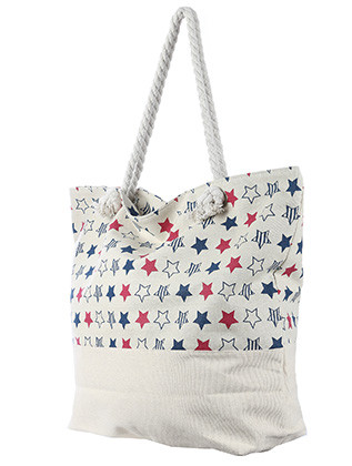 BAG ACCESSORY / STAR PRINT / JUMBO BEACH TOTE / ZIP CLOSURE / INTERIOR SLIP POCKET / INNER LINING / CANVAS COTTON FEEL / ONE SIZE / 23 INCH WIDE / 15 INCH TALL / 6 INCH DEEP / 7 INCH HANDLE DROP / 100 ACRYLIC / NICKEL AND LEAD COMPLIANT