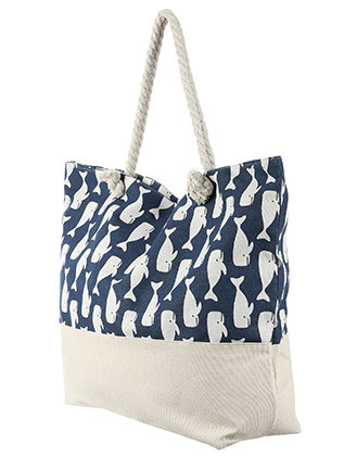 BAG ACCESSORY / DOLPHIN PRINT / JUMBO BEACH TOTE / ZIP CLOSURE / INTERIOR SLIP POCKET / INNER LINING / CANVAS COTTON FEEL / ONE SIZE / 23 INCH WIDE / 15 INCH TALL / 6 INCH DEEP / 7 INCH HANDLE DROP / 100 ACRYLIC / NICKEL AND LEAD COMPLIANT
