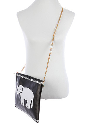 BAG ACCESSORY / ELEPHANT PRINT / VINYL CROSSBODY CLUTCH / ZIP CLOSURE / REMOVABLE ADJUSTABLE STRAP / INNER LINING / SLIP POCKET / ONE SIZE / 13 INCH WIDE / 10 INCH TALL / NICKEL AND LEAD COMPLIANT