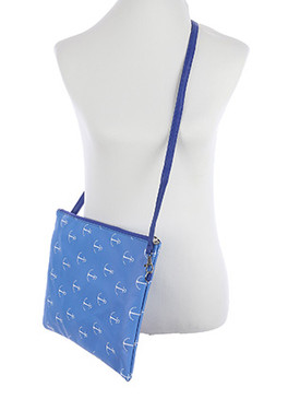 BAG ACCESSORY / ANCHOR PRINT / VINYL CROSSBODY CLUTCH / ZIP CLOSURE / REMOVABLE ADJUSTABLE STRAP / INNER LINING / SLIP POCKET / ONE SIZE / 13 INCH WIDE / 10 INCH TALL / NICKEL AND LEAD COMPLIANT