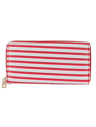 BAG ACCESSORY / STRIPED PRINT / VINYL CLUTCH WALLET / ZIPPER / COIN POCKET / CASH POCKET / CREDIT CARD POCKET / ONE SIZE / 8 INCH WIDE / 4 INCH TALL / NICKEL AND LEAD COMPLIANT