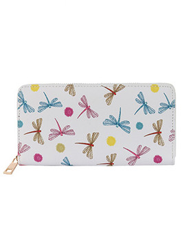 BAG ACCESSORY / DRAGONFLY PRINT / VINYL CLUTCH WALLET / ZIPPER / COIN POCKET / CASH POCKET / CREDIT CARD POCKET / ONE SIZE / 8 INCH WIDE / 4 INCH TALL / NICKEL AND LEAD COMPLIANT