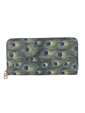 BAG ACCESSORY / PEACOCK FEATHER PRINT / VINYL CLUTCH WALLET / PINEAPPLE / ZIPPER / COIN POCKET / CASH POCKET / CREDIT CARD POCKET / ONE SIZE / 8 INCH WIDE / 4 INCH TALL / NICKEL AND LEAD COMPLIANT