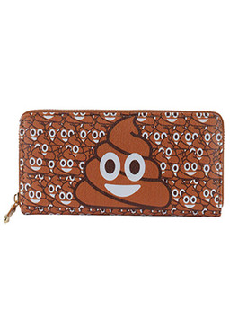 BAG ACCESSORY / POOP EMOJI PRINT / VINYL CLUTCH WALLET / PINEAPPLE / ZIPPER / COIN POCKET / CASH POCKET / CREDIT CARD POCKET / ONE SIZE / 8 INCH WIDE / 4 INCH TALL / NICKEL AND LEAD COMPLIANT