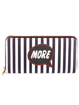 BAG ACCESSORY / MORE STRIPE PRINT / VINYL CLUTCH WALLET / ZIPPER / COIN POCKET / CASH POCKET / CREDIT CARD POCKET / ONE SIZE / 7 1/2 INCH WIDE / 4 INCH TALL / NICKEL AND LEAD COMPLIANT