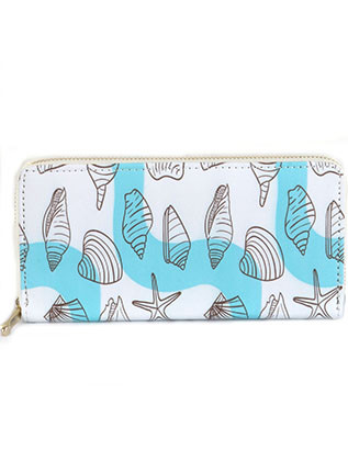 BAG ACCESSORY / SEALIFE PRINT / VINYL CLUTCH WALLET / ZIPPER / COIN POCKET / CASH POCKET / CREDIT CARD POCKET / ONE SIZE / 7 1/2 INCH WIDE / 4 INCH TALL / NICKEL AND LEAD COMPLIANT
