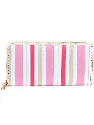 BAG ACCESSORY / STRIPE PATTERN PRINT / VINYL CLUTCH WALLET / ZIPPER / COIN POCKET / CASH POCKET / CREDIT CARD POCKET / ONE SIZE / 7 1/2 INCH WIDE / 4 INCH TALL / NICKEL AND LEAD COMPLIANT