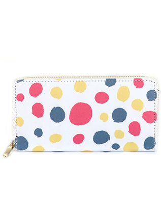 BAG ACCESSORY / FURRY DOT PRINT / VINYL CLUTCH WALLET / ZIPPER / COIN POCKET / CASH POCKET / CREDIT CARD POCKET / ONE SIZE / 7 1/2 INCH WIDE / 4 INCH TALL / NICKEL AND LEAD COMPLIANT