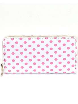 BAG ACCESSORY / PINK POLKADOT PRINT / VINYL CLUTCH WALLET / ZIPPER / COIN POCKET / CASH POCKET / CREDIT CARD POCKET / ONE SIZE / 7 1/2 INCH WIDE / 4 INCH TALL / NICKEL AND LEAD COMPLIANT