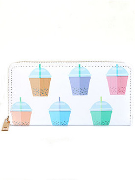 BAG ACCESSORY / BUBBLE TEA PRINT / VINYL CLUTCH WALLET / ZIPPER / COIN POCKET / CASH POCKET / CREDIT CARD POCKET / ONE SIZE / 7 1/2 INCH WIDE / 4 INCH TALL / NICKEL AND LEAD COMPLIANT