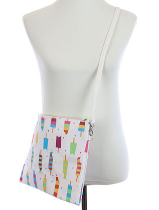 BAG ACCESSORY / POPSICLE PRINT / VINYL CROSSBODY CLUTCH / ZIP CLOSURE / REMOVABLE ADJUSTABLE STRAP / INNER LINING / SLIP POCKET / ONE SIZE / 13 INCH WIDE / 10 INCH TALL / NICKEL AND LEAD COMPLIANT