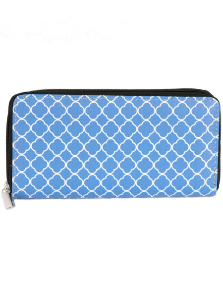 BAG ACCESSORY / QUATREFOIL PRINT / VINYL CLUTCH WALLET / ZIPPER / COIN POCKET / CASH POCKET / CREDIT CARD POCKET / ONE SIZE / 7 1/2 INCH WIDE / 4 INCH TALL / NICKEL AND LEAD COMPLIANT