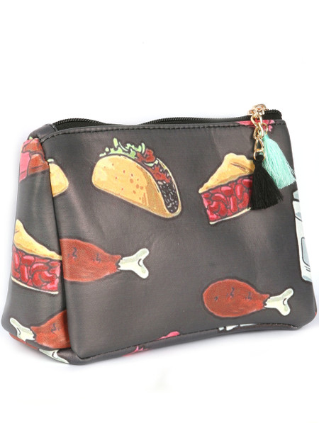 BAG ACCESSORY / FOOD PRINT / VINYL POUCH WALLET / TACO / CHERRY PIE / CHICKEN LEG / CHOCOLATE BAR / ZIPPER TASSELCHARM / ONE SIZE / 7 INCH WIDE / 5 INCH TALL / NICKEL AND LEAD COMPLIANT