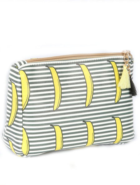 BAG ACCESSORY / STRIPED BANANA PRINT / VINYL POUCH WALLET / ZIPPER / TASSEL CHARM / ONE SIZE / 7 INCH WIDE / 5 INCH TALL / NICKEL AND LEAD COMPLIANT