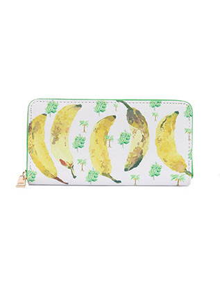 BAG ACCESSORY / BANANA PRINT / VINYL CLUTCH WALLET / FAUX LEATHER / ZIPPER / COIN POCKET / CASH POCKET / CREDIT CARD POCKET / ONE SIZE / 8 INCH WIDE / 4 INCH TALL / NICKEL AND LEAD COMPLIANT