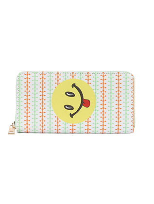 BAG ACCESSORY / SMILEY FACE PRINT / VINYL CLUTCH WALLET / EMOJI / FAUX LEATHER / ZIPPER / COIN POCKET / CASH POCKET / CREDIT CARD POCKET / ONE SIZE / 8 INCH WIDE / 4 INCH TALL / NICKEL AND LEAD COMPLIANT