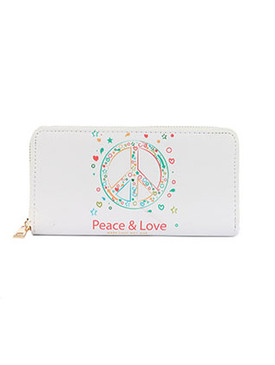 BAG ACCESSORY / PEACE SYMBOL PRINT / VINYL CLUTCH WALLET / PEAC & LOVE / MAKE LOVE NOT WAR / FAUX LEATHER / ZIPPER / COIN POCKET / CASH POCKET / CREDIT CARD POCKET / ONE SIZE / 8 INCH WIDE / 4 INCH TALL / NICKEL AND LEAD COMPLIANT