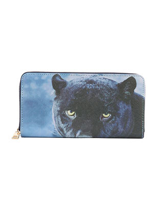 BAG ACCESSORY / BLACK PUMA PRINT / VINYL CLUTCH WALLET / FAUX LEATHER / ZIPPER / COIN POCKET / CASH POCKET / CREDIT CARD POCKET / ONE SIZE / 8 INCH WIDE / 4 INCH TALL / NICKEL AND LEAD COMPLIANT