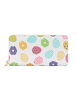 BAG ACCESSORY / COLOR EGG PRINT / VINYL CLUTCH WALLET / FAUX LEATHER / ZIPPER / COIN POCKET / CASH POCKET / CREDIT CARD POCKET / ONE SIZE / 8 INCH WIDE / 4 INCH TALL / NICKEL AND LEAD COMPLIANT