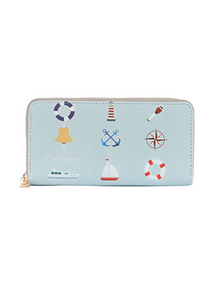 BAG ACCESSORY / NAUTICAL PRINT / VINYL CLUTCH WALLET / FAUX LEATHER / ZIPPER / COIN POCKET / CASH POCKET / CREDIT CARD POCKET / ONE SIZE / 8 INCH WIDE / 4 INCH TALL / NICKEL AND LEAD COMPLIANT