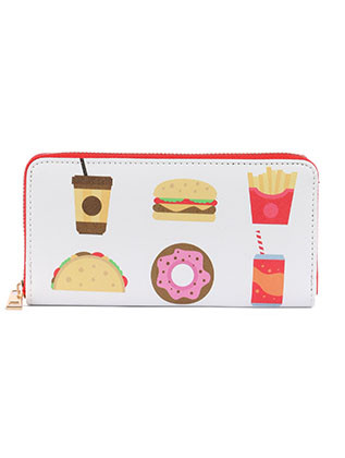 BAG ACCESSORY / FAST FOOD PRINT / VINYL CLUTCH WALLET / FAUX LEATHER / ZIPPER / COIN POCKET / CASH POCKET / CREDIT CARD POCKET / ONE SIZE / 8 INCH WIDE / 4 INCH TALL / NICKEL AND LEAD COMPLIANT