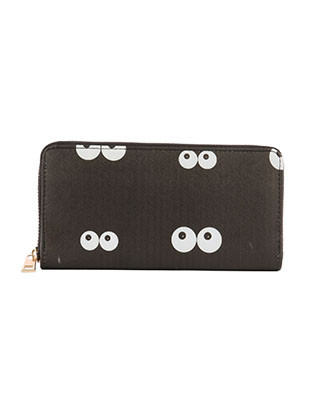 BAG ACCESSORY / EYES IN THE DARK PRINT / VINYL CLUTCH WALLET / FAUX LEATHER / ZIPPER / COIN POCKET / CASH POCKET / CREDIT CARD POCKET / ONE SIZE / 8 INCH WIDE / 4 INCH TALL / NICKEL AND LEAD COMPLIANT