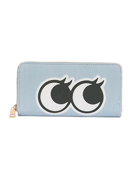 BAG ACCESSORY / SIDE EYES PRINT / VINYL CLUTCH WALLET / STRIPE / FAUX LEATHER / ZIPPER / COIN POCKET / CASH POCKET / CREDIT CARD POCKET / ONE SIZE / 8 INCH WIDE / 4 INCH TALL / NICKEL AND LEAD COMPLIANT