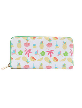 BAG ACCESSORY / PINEAPPLE FLOWER PRINT / VINYL CLUTCH WALLET / FLOWERS / LEAVES / FAUX LEATHER / ZIPPER / COIN POCKET / CASH POCKET / CREDIT CARD POCKET / ONE SIZE / 8 INCH WIDE / 4 INCH TALL / NICKEL AND LEAD COMPLIANT