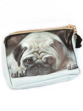 BAG ACCESSORY / PUG PRINT / VINYL POUCH WALLET / ZIPPER / TASSEL CHARM / ONE SIZE / 7 INCH WIDE / 5 INCH TALL / 2 INCH DEEP / NICKEL AND LEAD COMPLIANT