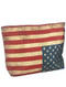 BAG ACCESSORY / AMERICAN FLAG PRINT / BEACH TOTE / ZIP CLOSURE / INTERIOR SLIP POCKET / WATER RESISTENT INNER LINING / CANVAS COTTON / ONE SIZE / 18 INCH WIDE / 12 INCH TALL / 4 INCH DEEP / 10 INCH HANDLE DROP / 100 POLYESTER / FLAG IS PRINTED UPSIDE DOWN / NICKEL AND LEAD COMPLIANT