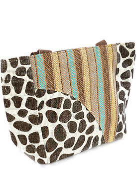 BAG ACCESSORY / STRIPE ANIMAL PRINT / STRAW BEACH TOTE / ZIP CLOSURE / INTERIOR SLIP POCKET / WATERPROOF INNER LINING / ONE SIZE / 18 INCH WIDE / 12 INCH TALL / 5 INCH DEEP / 13 INCH HANDLE DROP / 80% PAPER / 20% POLYESTER / NICKEL AND LEAD COMPLIANT